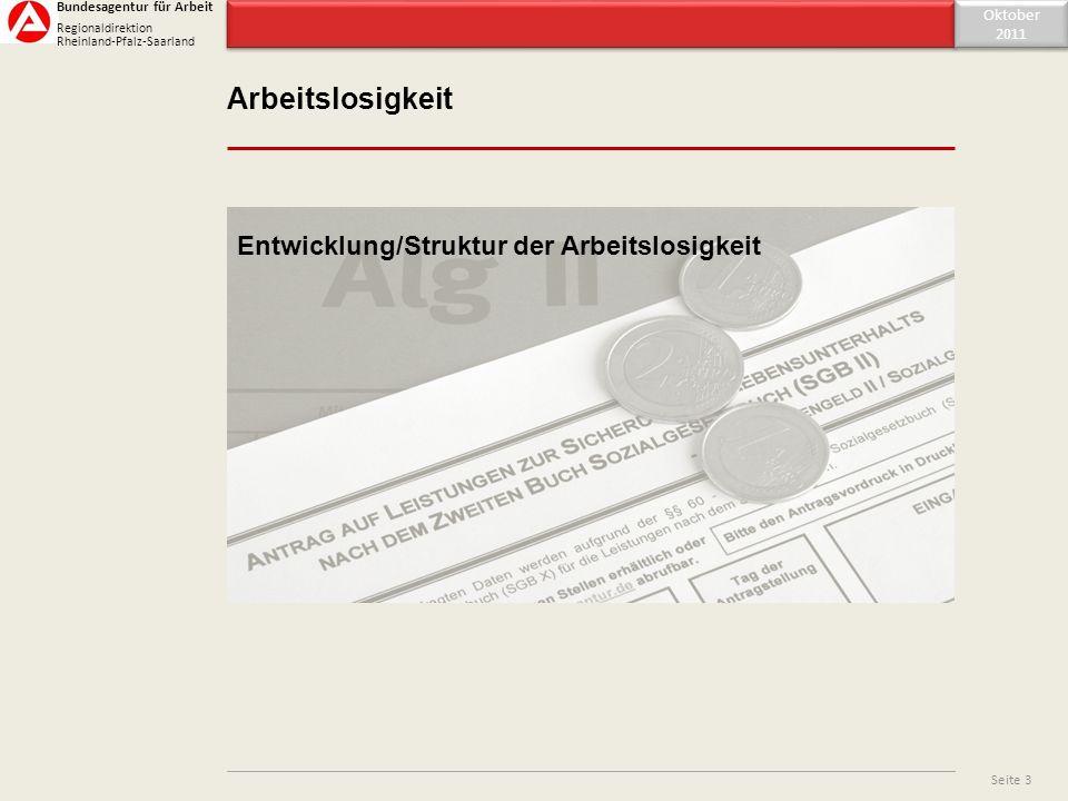 Inhaltsverzeichnis Arbeitslosigkeit Oktober 2011 Oktober 2011 Seite 3 Entwicklung/Struktur der Arbeitslosigkeit Bundesagentur für Arbeit Regionaldirek
