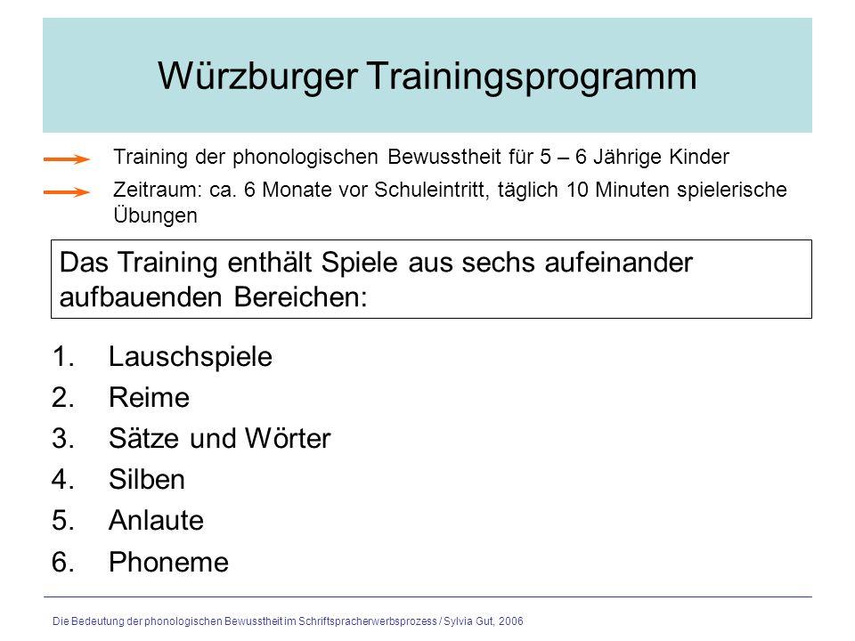 Die Bedeutung der phonologischen Bewusstheit im Schriftspracherwerbsprozess / Sylvia Gut, 2006 Leichter lesen und schreiben lernen mit der Hexe Susi 1.Lausch- und Reimaufgaben (2 Wochen ab Schulanfang; 2 Std./W) 2.Aufgaben zur Silbe (2 Wochen; 2 Std./W) 3.Aufgaben zu Phonemen (Phonem-Graphem- Zuordnung) (12 Wochen; 2 Std./W) 4.Aufgaben zum schnellen Lesen (ab dem zweiten Schulhalbjahr) Übungen und Spiele zur Förderung der phonologischen Bewusstheit für die erste Klasse.