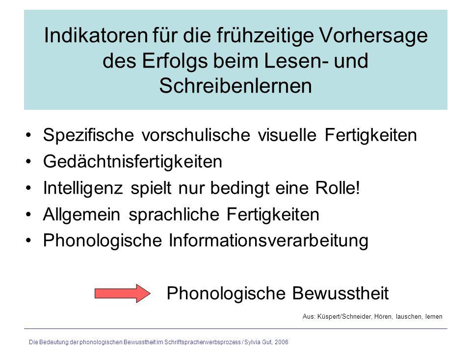 Die Bedeutung der phonologischen Bewusstheit im Schriftspracherwerbsprozess / Sylvia Gut, 2006 Was ist phonologische Bewusstheit.