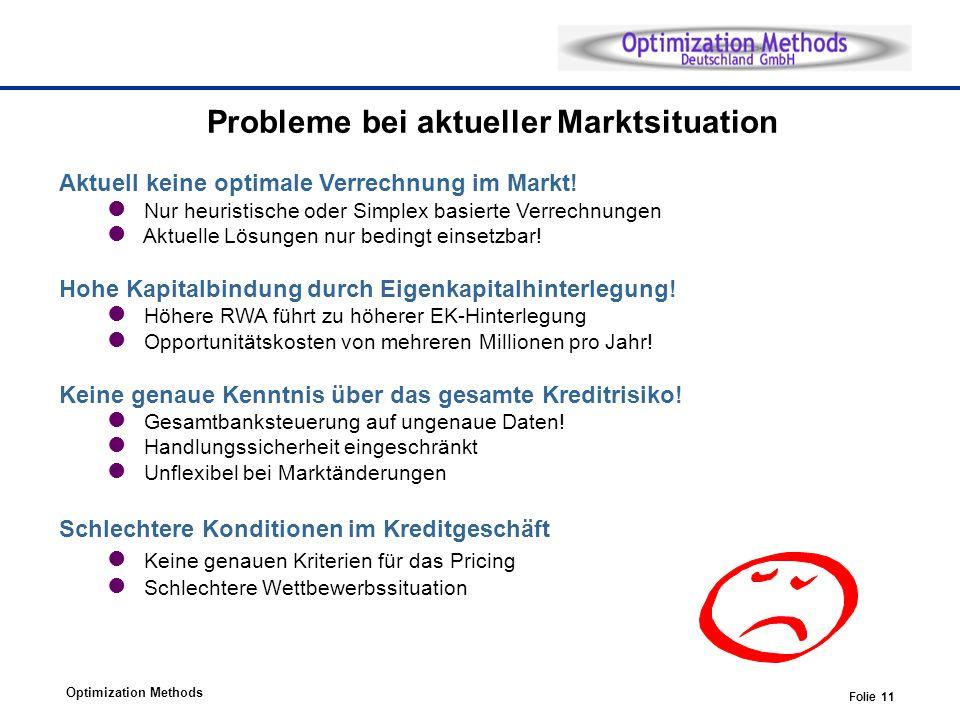 Optimization Methods Folie 11 Probleme bei aktueller Marktsituation Aktuell keine optimale Verrechnung im Markt! Nur heuristische oder Simplex basiert