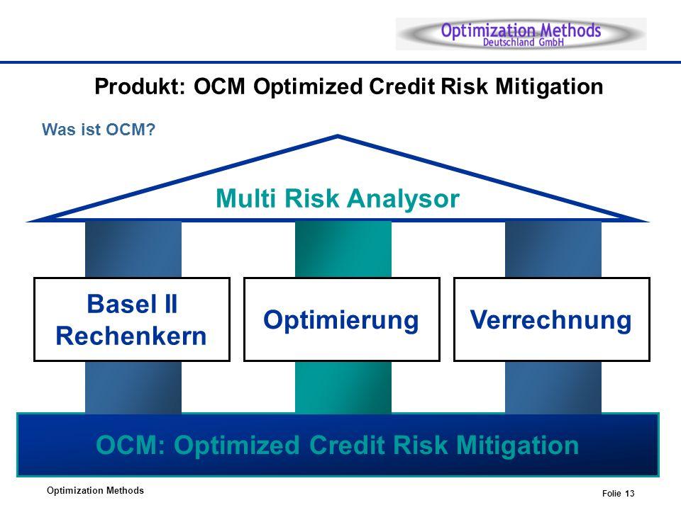 Optimization Methods Folie 13 Produkt: OCM Optimized Credit Risk Mitigation Was ist OCM? OCM: Optimized Credit Risk Mitigation Multi Risk Analysor Bas
