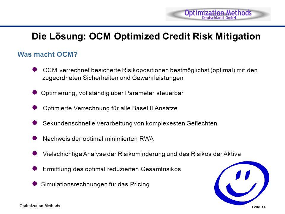 Optimization Methods Folie 14 Die Lösung: OCM Optimized Credit Risk Mitigation Was macht OCM.