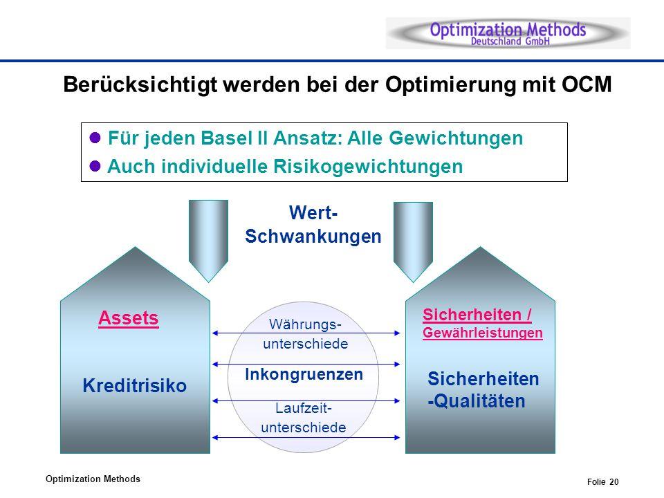 Optimization Methods Folie 20 Berücksichtigt werden bei der Optimierung mit OCM Sicherheiten -Qualitäten Kreditrisiko Wert- Schwankungen Assets Sicherheiten / Gewährleistungen Für jeden Basel II Ansatz: Alle Gewichtungen Auch individuelle Risikogewichtungen Währungs- unterschiede Laufzeit- unterschiede Inkongruenzen