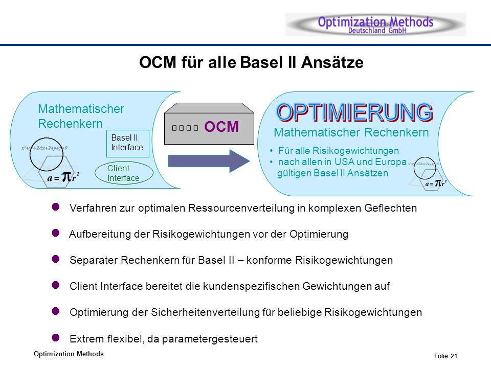 Optimization Methods Folie 21 OCM für alle Basel II Ansätze Verfahren zur optimalen Ressourcenverteilung in komplexen Geflechten Aufbereitung der Risikogewichtungen vor der Optimierung Separater Rechenkern für Basel II – konforme Risikogewichtungen Client Interface bereitet die kundenspezifischen Gewichtungen auf Optimierung der Sicherheitenverteilung für beliebige Risikogewichtungen Extrem flexibel, da parametergesteuert Mathematischer Rechenkern Basel II Interface OCM Client Interface Mathematischer Rechenkern Für alle Risikogewichtungen nach allen in USA und Europa gültigen Basel II Ansätzen