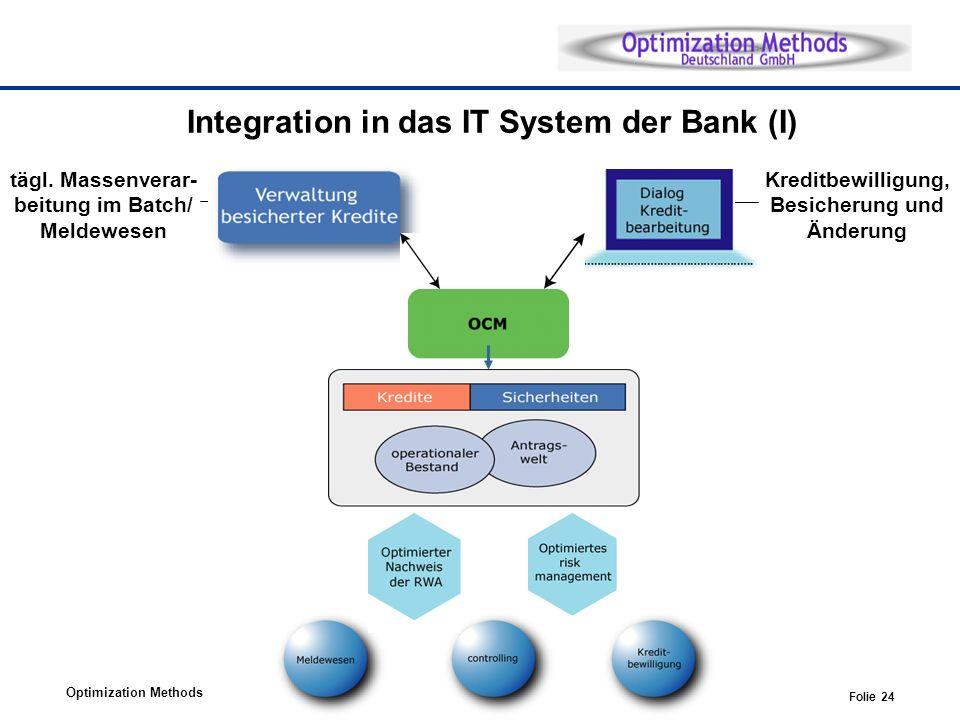 Optimization Methods Folie 24 Kreditbewilligung, Besicherung und Änderung tägl. Massenverar- beitung im Batch/ Meldewesen Integration in das IT System