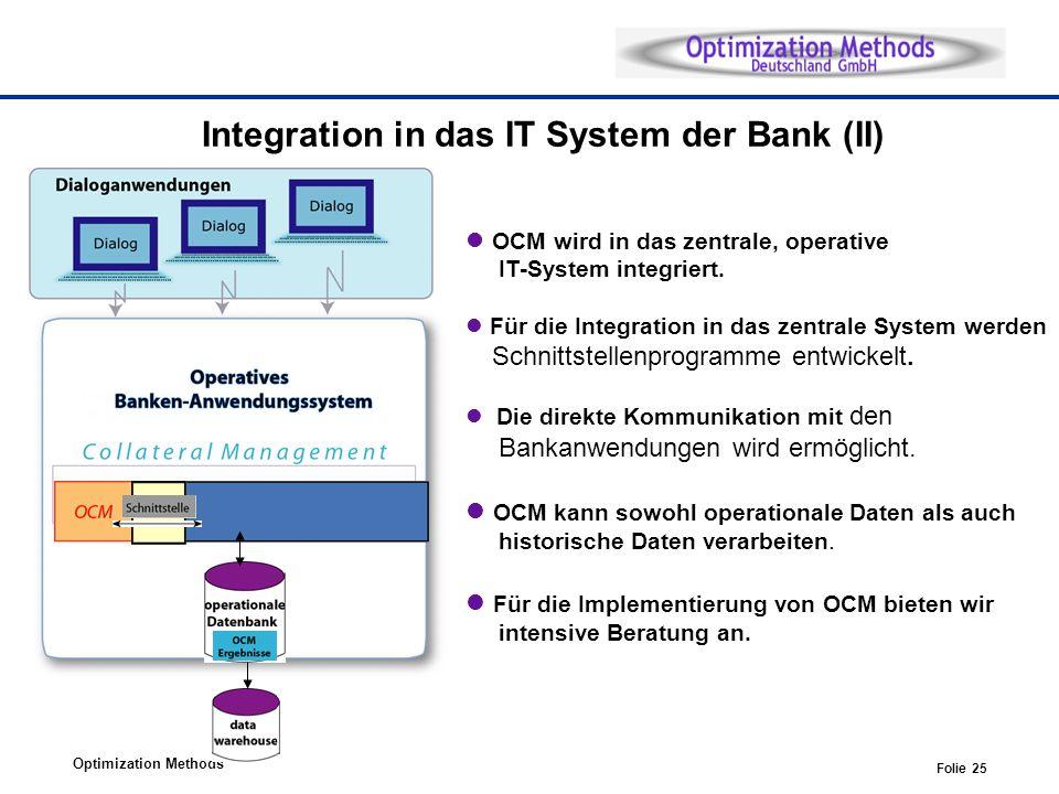 Optimization Methods Folie 25 OCM wird in das zentrale, operative IT-System integriert. Für die Integration in das zentrale System werden Schnittstell