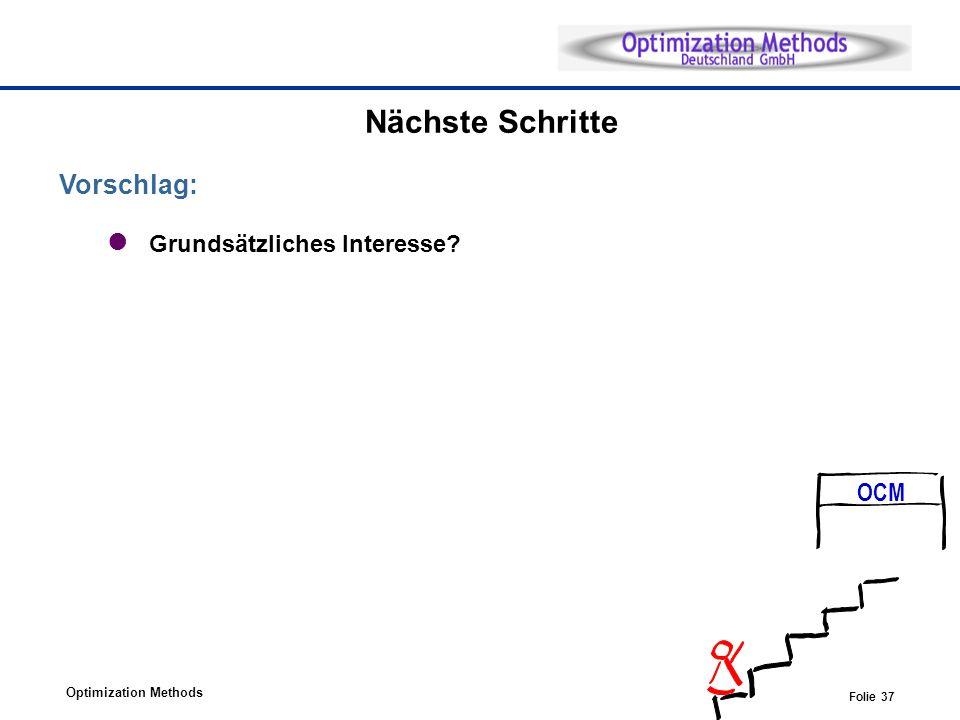Optimization Methods Folie 37 Nächste Schritte Vorschlag: Grundsätzliches Interesse? OCM