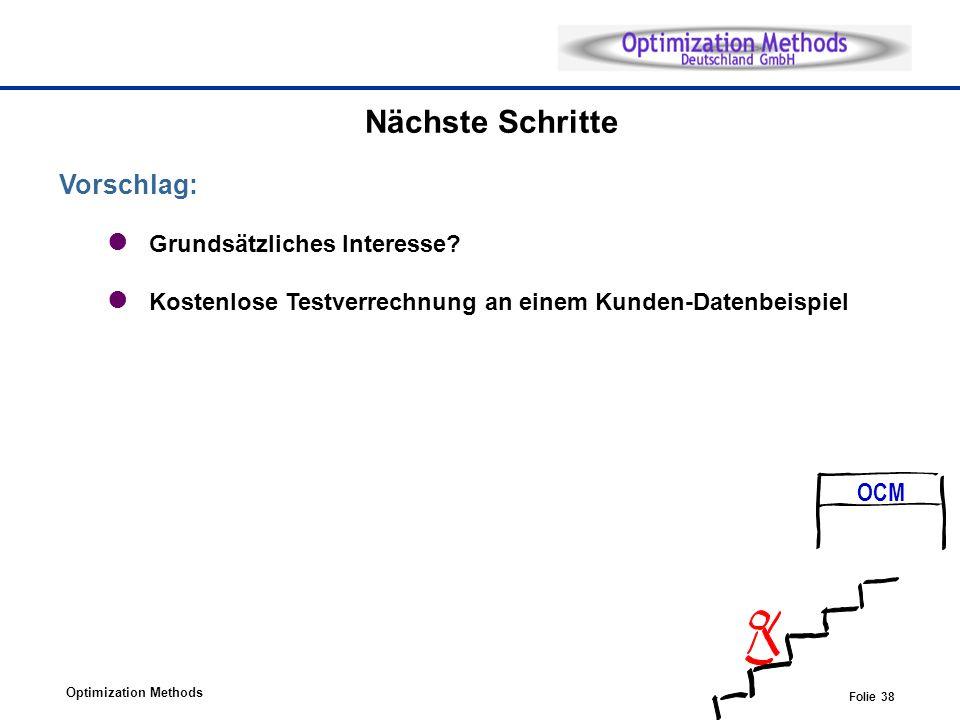 Optimization Methods Folie 38 Nächste Schritte Vorschlag: Grundsätzliches Interesse.
