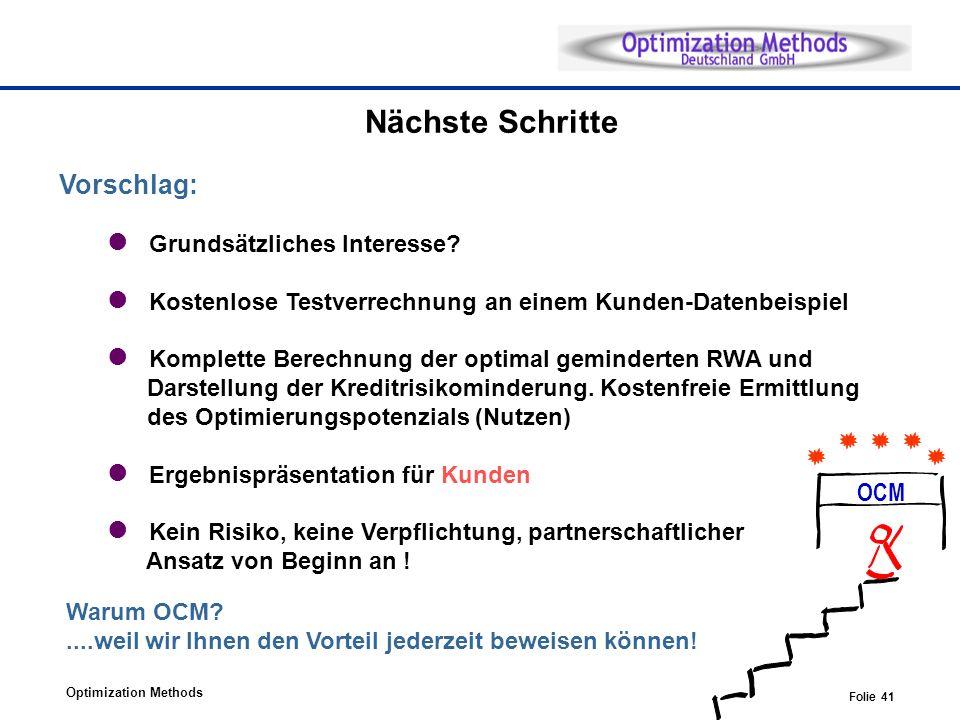 Optimization Methods Folie 41 Nächste Schritte Vorschlag: Grundsätzliches Interesse? Kostenlose Testverrechnung an einem Kunden-Datenbeispiel Komplett