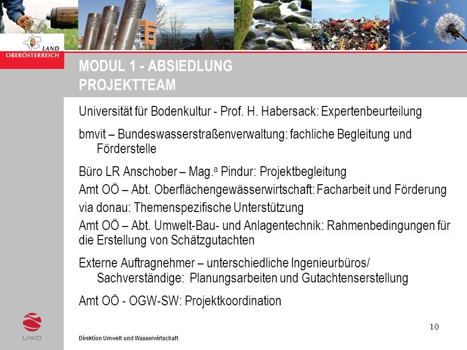 Direktion Umwelt und Wasserwirtschaft 10 MODUL 1 - ABSIEDLUNG PROJEKTTEAM Universität für Bodenkultur - Prof. H. Habersack: Expertenbeurteilung bmvit
