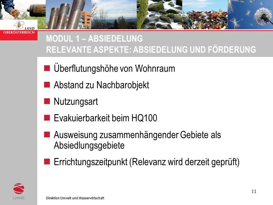Direktion Umwelt und Wasserwirtschaft 11 MODUL 1 – ABSIEDELUNG RELEVANTE ASPEKTE: ABSIEDELUNG UND FÖRDERUNG Überflutungshöhe von Wohnraum Abstand zu N