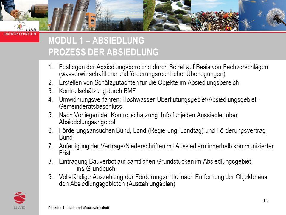 Direktion Umwelt und Wasserwirtschaft 12 MODUL 1 – ABSIEDLUNG PROZESS DER ABSIEDLUNG 1.Festlegen der Absiedlungsbereiche durch Beirat auf Basis von Fa