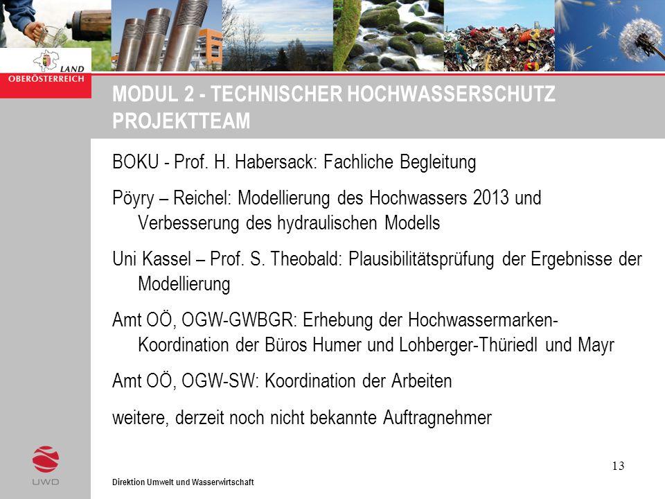 Direktion Umwelt und Wasserwirtschaft 13 MODUL 2 - TECHNISCHER HOCHWASSERSCHUTZ PROJEKTTEAM BOKU - Prof. H. Habersack: Fachliche Begleitung Pöyry – Re