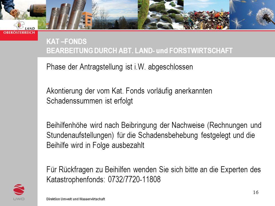 Direktion Umwelt und Wasserwirtschaft 16 KAT –FONDS BEARBEITUNG DURCH ABT. LAND- und FORSTWIRTSCHAFT Phase der Antragstellung ist i.W. abgeschlossen A