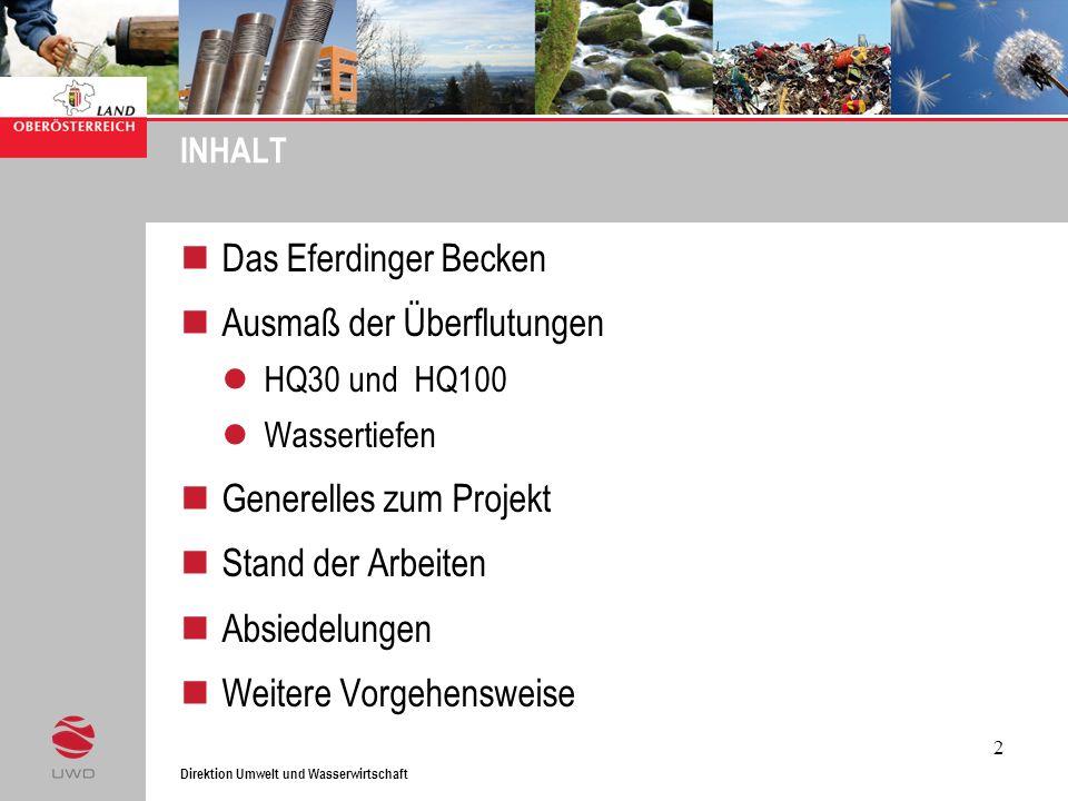 Direktion Umwelt und Wasserwirtschaft 2 INHALT Das Eferdinger Becken Ausmaß der Überflutungen HQ30 und HQ100 Wassertiefen Generelles zum Projekt Stand