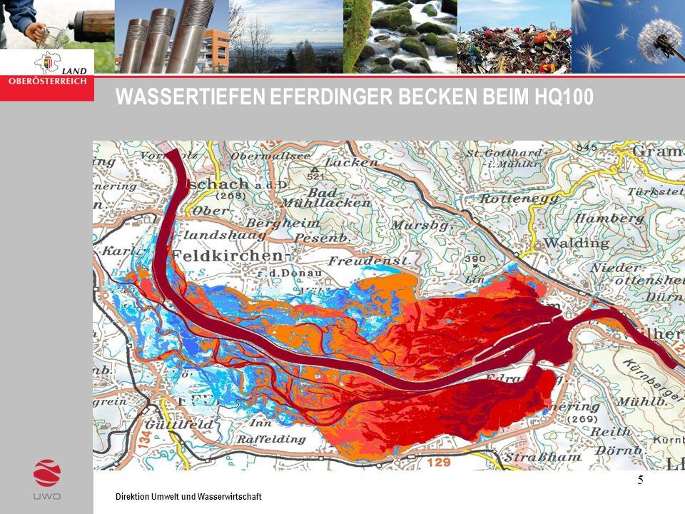 Direktion Umwelt und Wasserwirtschaft 5 WASSERTIEFEN EFERDINGER BECKEN BEIM HQ100