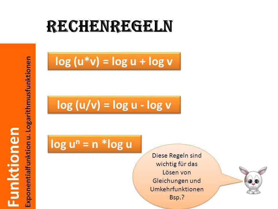 Funktionen Exponentialfunktion u. Logarithmusfunktionen Rechenregeln log (u*v) = log u + log v log (u/v) = log u - log v log u n = n *log u Diese Rege