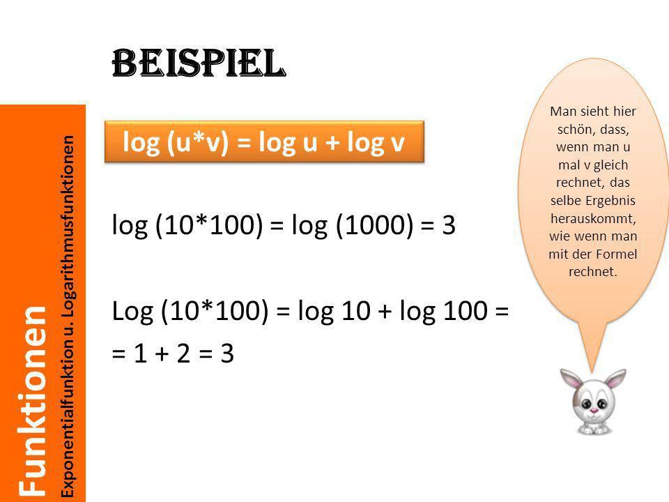 Funktionen Exponentialfunktion u. Logarithmusfunktionen Beispiel log (10*100) = log (1000) = 3 Log (10*100) = log 10 + log 100 = = 1 + 2 = 3 Man sieht