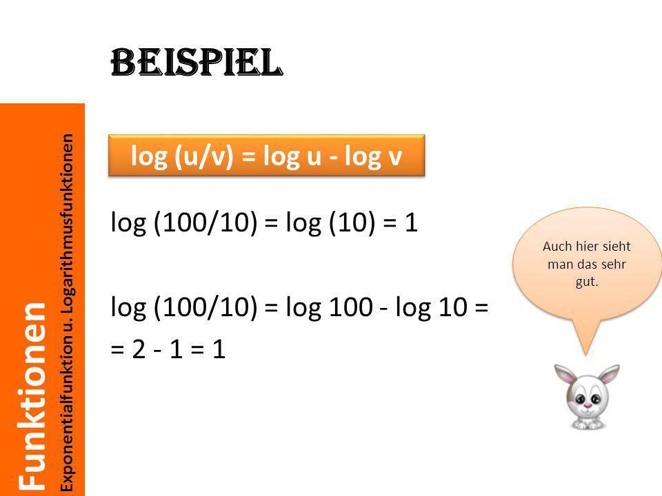 Funktionen Exponentialfunktion u. Logarithmusfunktionen Beispiel log (100/10) = log (10) = 1 log (100/10) = log 100 - log 10 = = 2 - 1 = 1 log (u/v) =