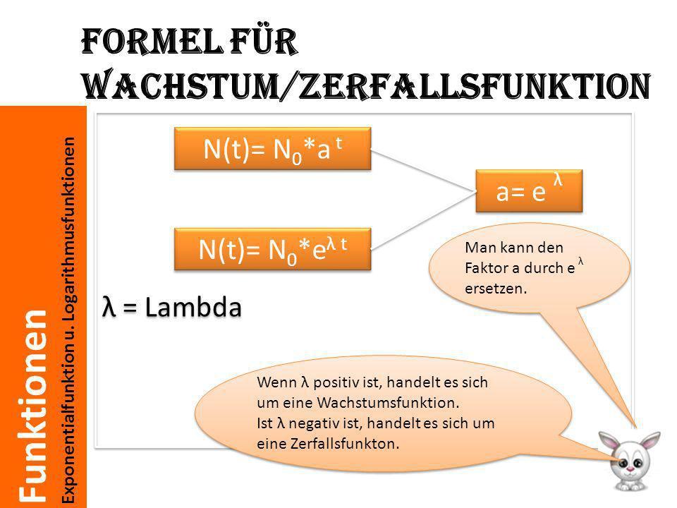 Funktionen Exponentialfunktion u. Logarithmusfunktionen Formel für Wachstum/Zerfallsfunktion λ = Lambda N(t)= N 0 *e λ t N(t)= N 0 *a t a= e λ Wenn λ