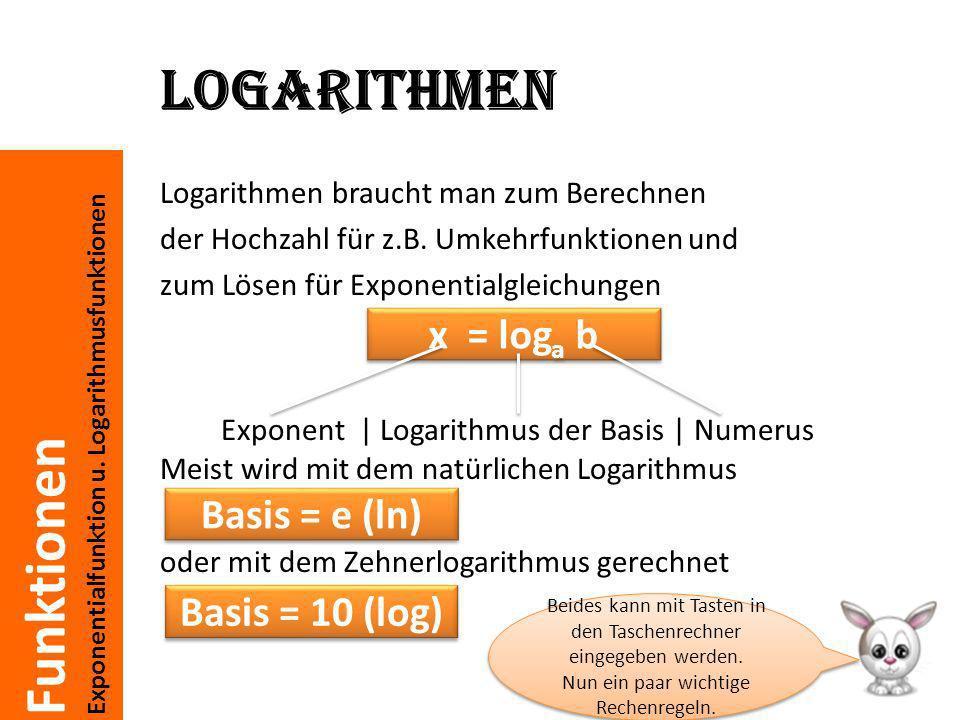 Funktionen Exponentialfunktion u. Logarithmusfunktionen Logarithmen Logarithmen braucht man zum Berechnen der Hochzahl für z.B. Umkehrfunktionen und z