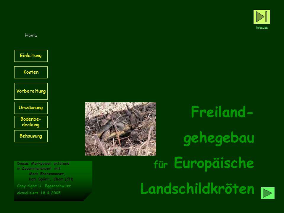 Freiland- gehegebau für Europäische Landschildkröten beenden Home Behausung Kosten Einleitung Vorbereitung Umzäunung Bodenbe- deckung Dieses Merkpower entstand in Zusammenarbeit mit Mark Eschenmoser, Karl Spörri, Cham (CH) Copy right U.