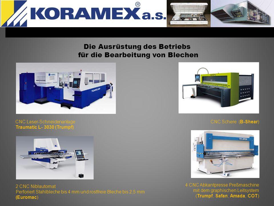 Die Ausrüstung des Betriebs für die Bearbeitung von Blechen CNC Laser-Schneidenanlage Traumatic L- 3030 (Trumpf) CNC Schere (B-Shear) 2 CNC Niblautoma