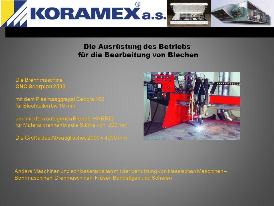 Die Ausrüstung des Betriebs für die Bearbeitung von Blechen Die Brennmaschine CNC Scorpion 2500 mit dem Plasmaaggregat Cebora 162 für Blechteilen bis
