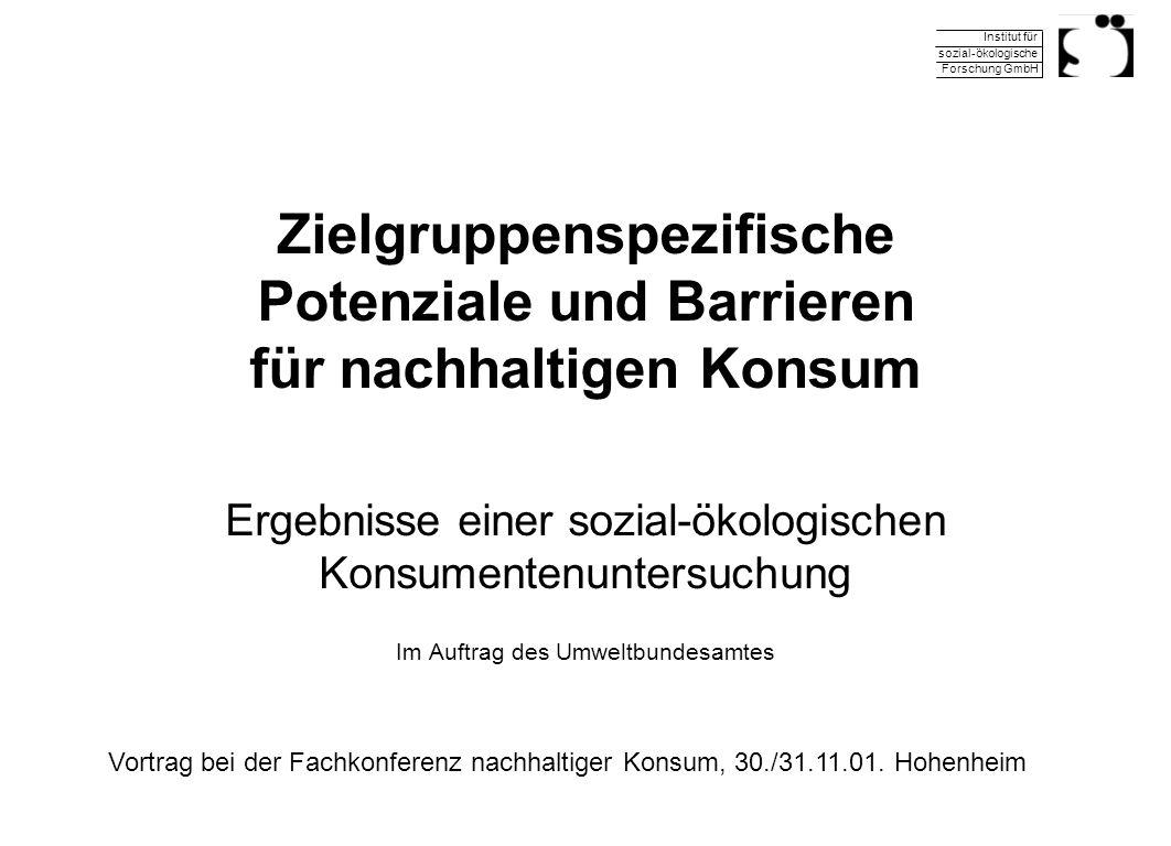 Institut für sozial-ökologische Forschung GmbH 30.11.2001Fachkonferenz nachhaltiger Konsum 12 Ablehnung von Öko als Ideologie Ablehnung gegenüber dem Öko-Thema : Ist weltfremde Ideologie Ist langweilig (v.a.