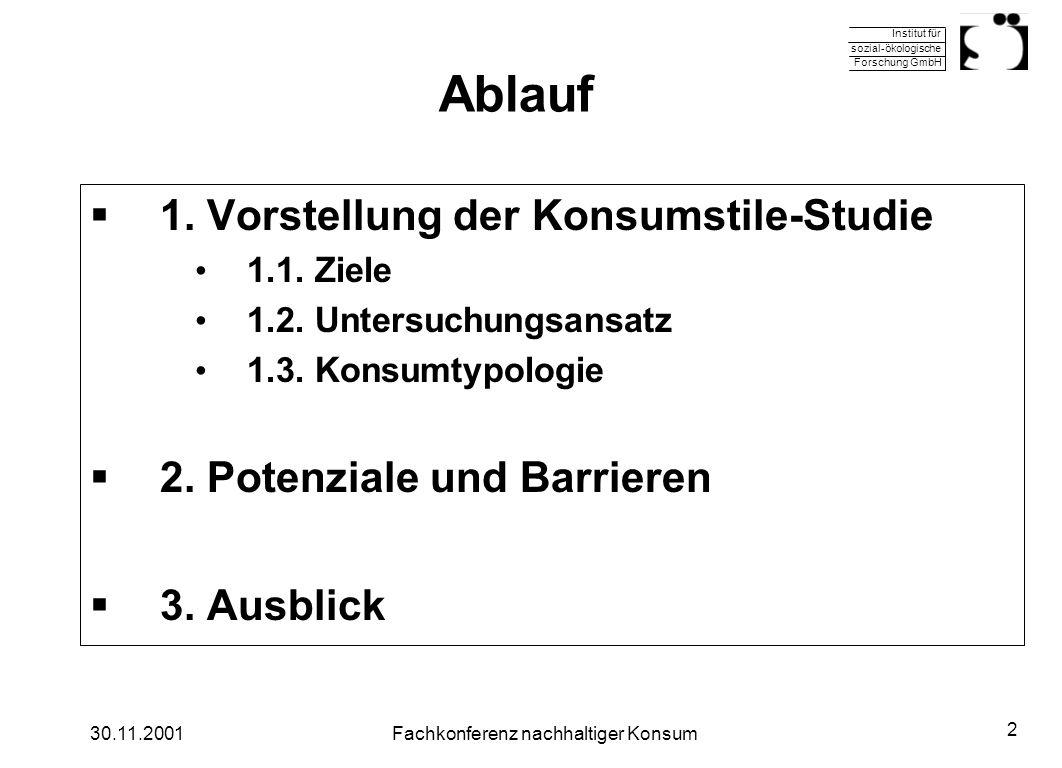 Institut für sozial-ökologische Forschung GmbH 30.11.2001Fachkonferenz nachhaltiger Konsum 2 Ablauf 1. Vorstellung der Konsumstile-Studie 1.1. Ziele 1