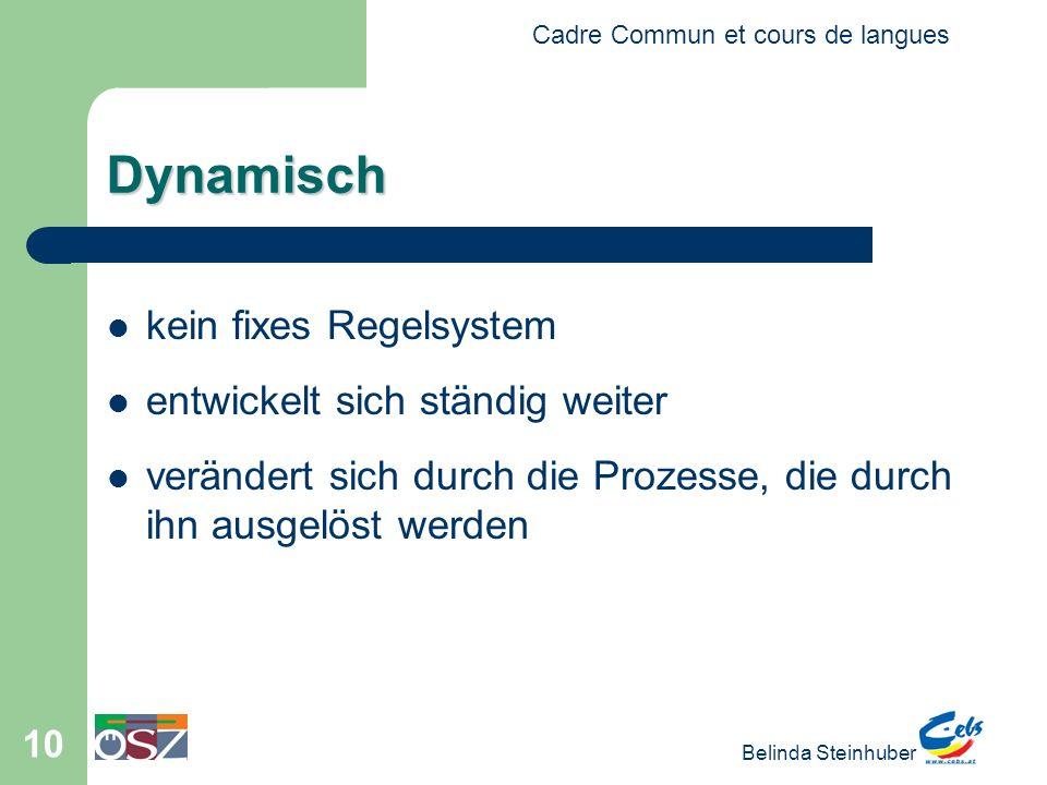 Cadre Commun et cours de langues Belinda Steinhuber 10 Dynamisch kein fixes Regelsystem entwickelt sich ständig weiter verändert sich durch die Prozesse, die durch ihn ausgelöst werden