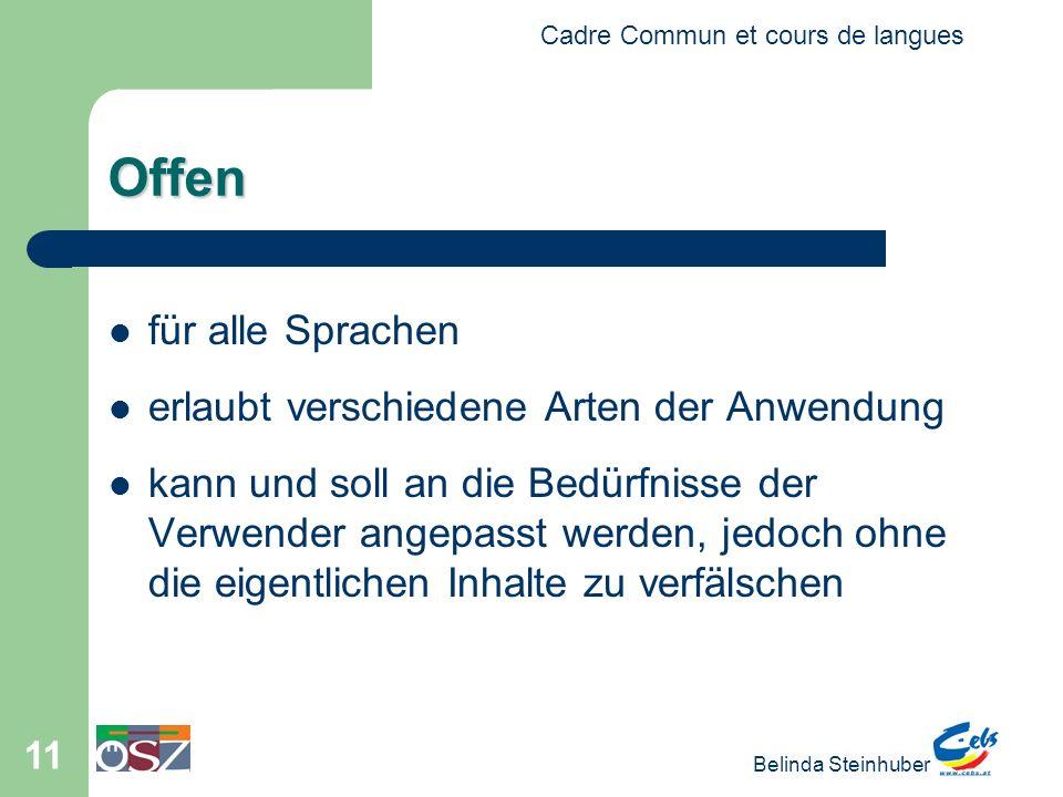 Cadre Commun et cours de langues Belinda Steinhuber 11 Offen für alle Sprachen erlaubt verschiedene Arten der Anwendung kann und soll an die Bedürfnisse der Verwender angepasst werden, jedoch ohne die eigentlichen Inhalte zu verfälschen