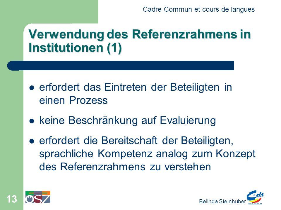 Cadre Commun et cours de langues Belinda Steinhuber 13 Verwendung des Referenzrahmens in Institutionen (1) erfordert das Eintreten der Beteiligten in einen Prozess keine Beschränkung auf Evaluierung erfordert die Bereitschaft der Beteiligten, sprachliche Kompetenz analog zum Konzept des Referenzrahmens zu verstehen
