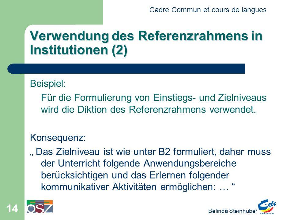 Cadre Commun et cours de langues Belinda Steinhuber 14 Verwendung des Referenzrahmens in Institutionen (2) Beispiel: Für die Formulierung von Einstieg