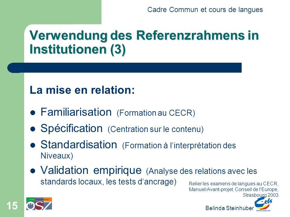 Cadre Commun et cours de langues Belinda Steinhuber 15 Verwendung des Referenzrahmens in Institutionen (3) La mise en relation: Familiarisation (Forma