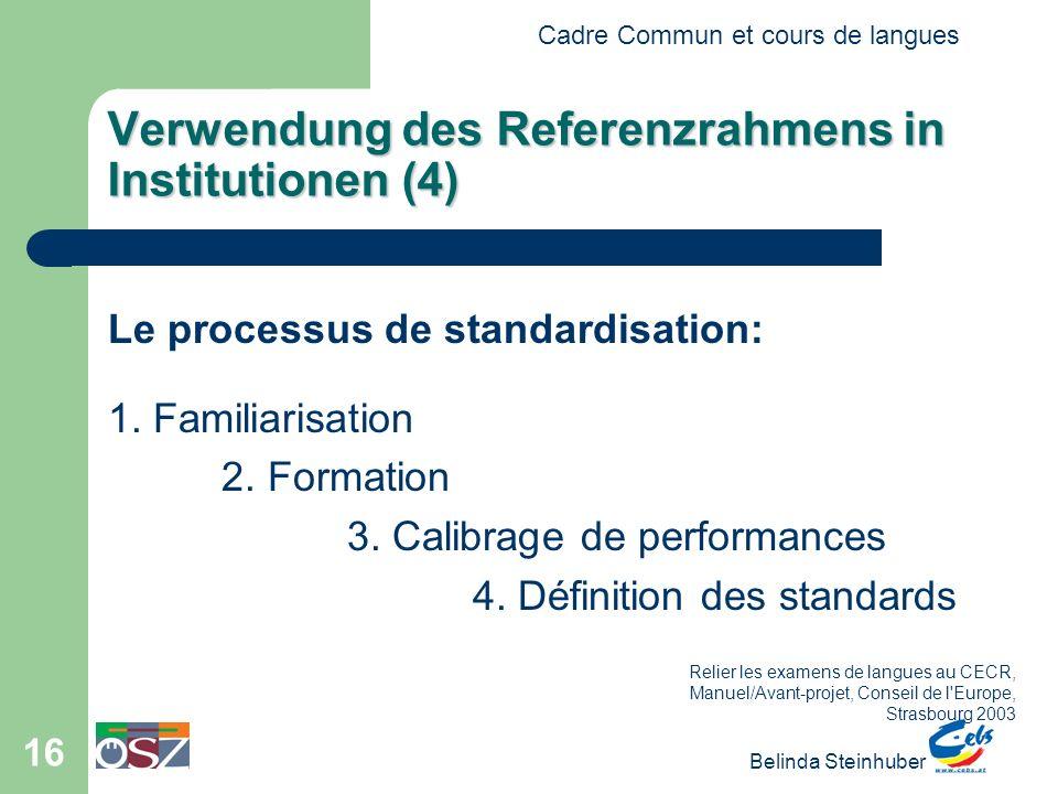 Cadre Commun et cours de langues Belinda Steinhuber 16 Verwendung des Referenzrahmens in Institutionen (4) Le processus de standardisation: 1. Familia