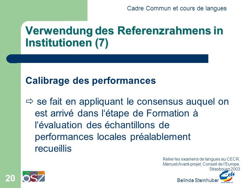 Cadre Commun et cours de langues Belinda Steinhuber 20 Verwendung des Referenzrahmens in Institutionen (7) Calibrage des performances se fait en appli