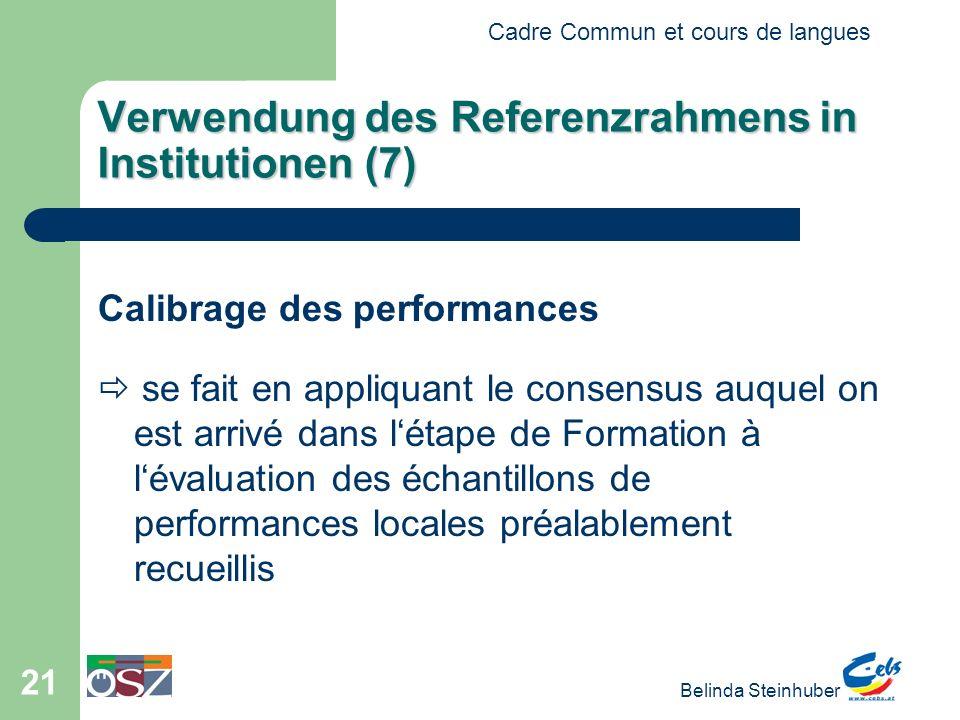 Cadre Commun et cours de langues Belinda Steinhuber 21 Verwendung des Referenzrahmens in Institutionen (7) Calibrage des performances se fait en appli
