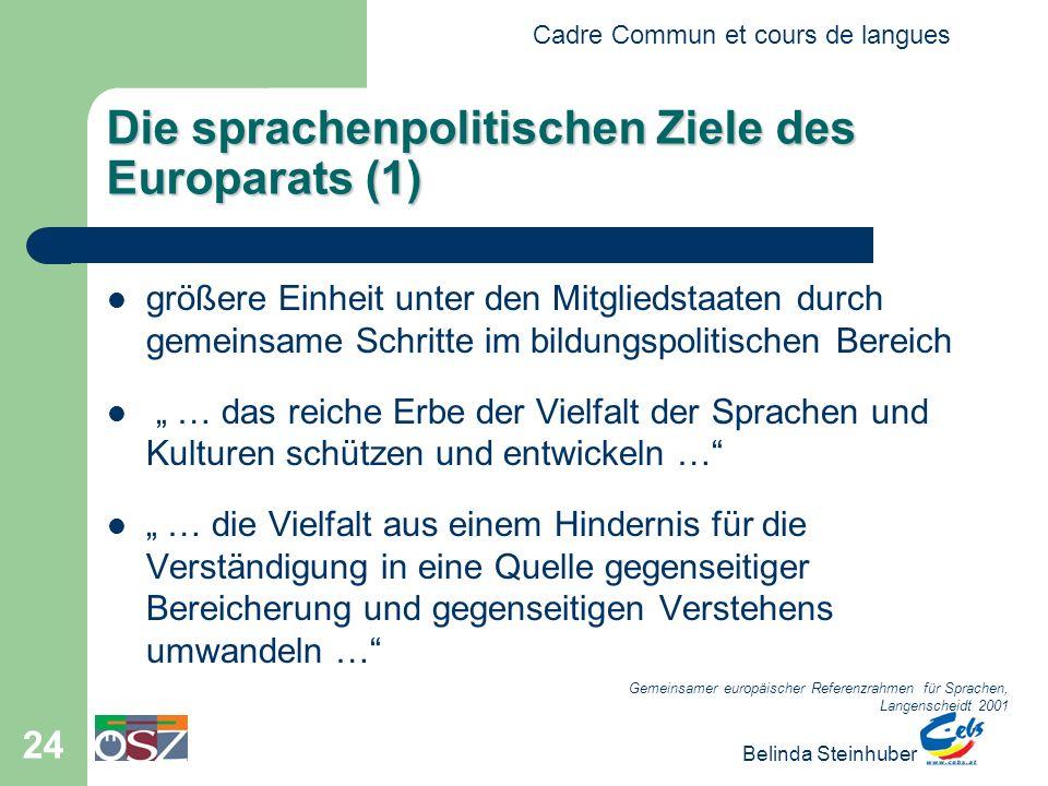 Cadre Commun et cours de langues Belinda Steinhuber 24 Die sprachenpolitischen Ziele des Europarats (1) größere Einheit unter den Mitgliedstaaten durc