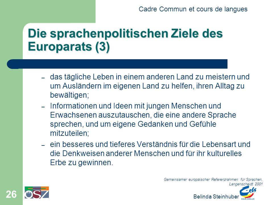 Cadre Commun et cours de langues Belinda Steinhuber 26 Die sprachenpolitischen Ziele des Europarats (3) –d–das tägliche Leben in einem anderen Land zu