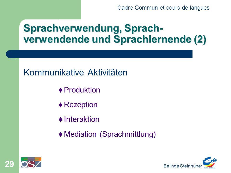 Cadre Commun et cours de langues Belinda Steinhuber 29 Sprachverwendung, Sprach- verwendende und Sprachlernende (2) Kommunikative Aktivitäten Produktion Rezeption Interaktion Mediation (Sprachmittlung)