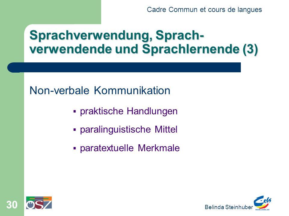Cadre Commun et cours de langues Belinda Steinhuber 30 Sprachverwendung, Sprach- verwendende und Sprachlernende (3) Non-verbale Kommunikation praktisc