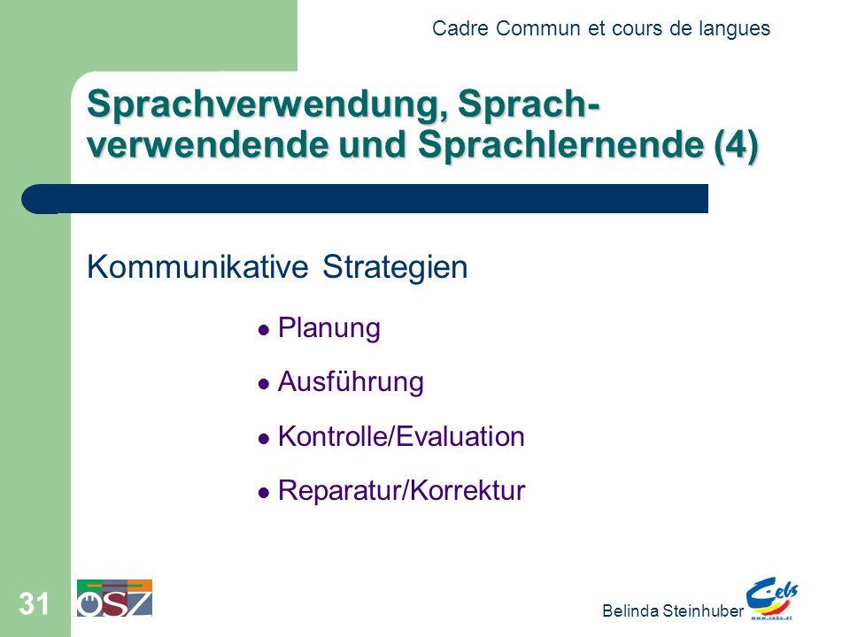 Cadre Commun et cours de langues Belinda Steinhuber 31 Sprachverwendung, Sprach- verwendende und Sprachlernende (4) Kommunikative Strategien Planung A