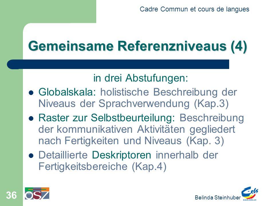 Cadre Commun et cours de langues Belinda Steinhuber 36 Gemeinsame Referenzniveaus (4) in drei Abstufungen: Globalskala: holistische Beschreibung der N