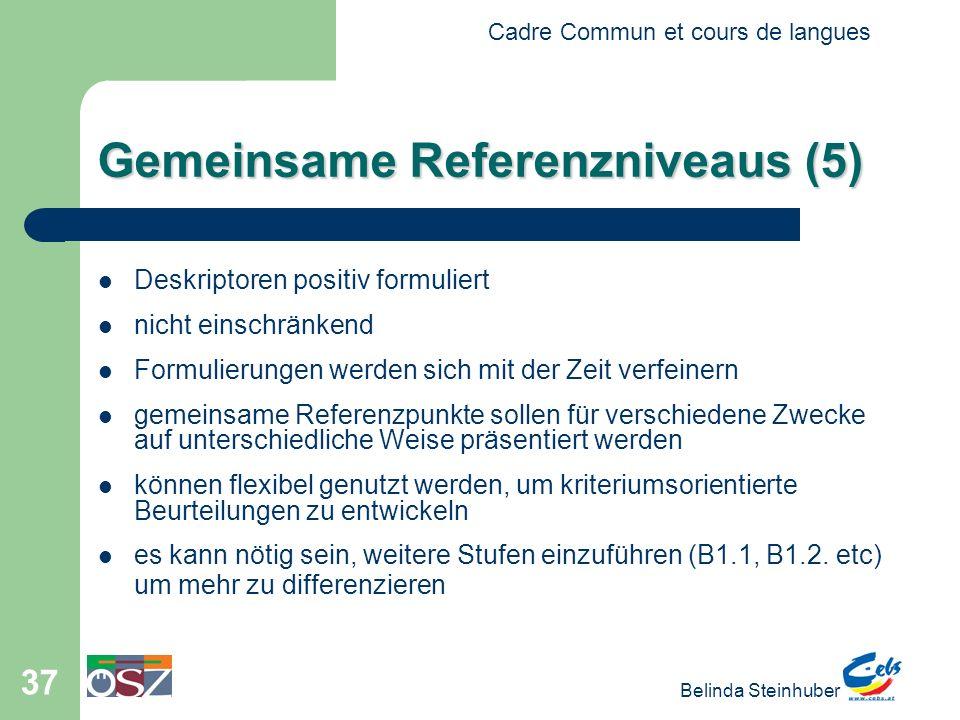 Cadre Commun et cours de langues Belinda Steinhuber 37 Gemeinsame Referenzniveaus (5) Deskriptoren positiv formuliert nicht einschränkend Formulierungen werden sich mit der Zeit verfeinern gemeinsame Referenzpunkte sollen für verschiedene Zwecke auf unterschiedliche Weise präsentiert werden können flexibel genutzt werden, um kriteriumsorientierte Beurteilungen zu entwickeln es kann nötig sein, weitere Stufen einzuführen (B1.1, B1.2.