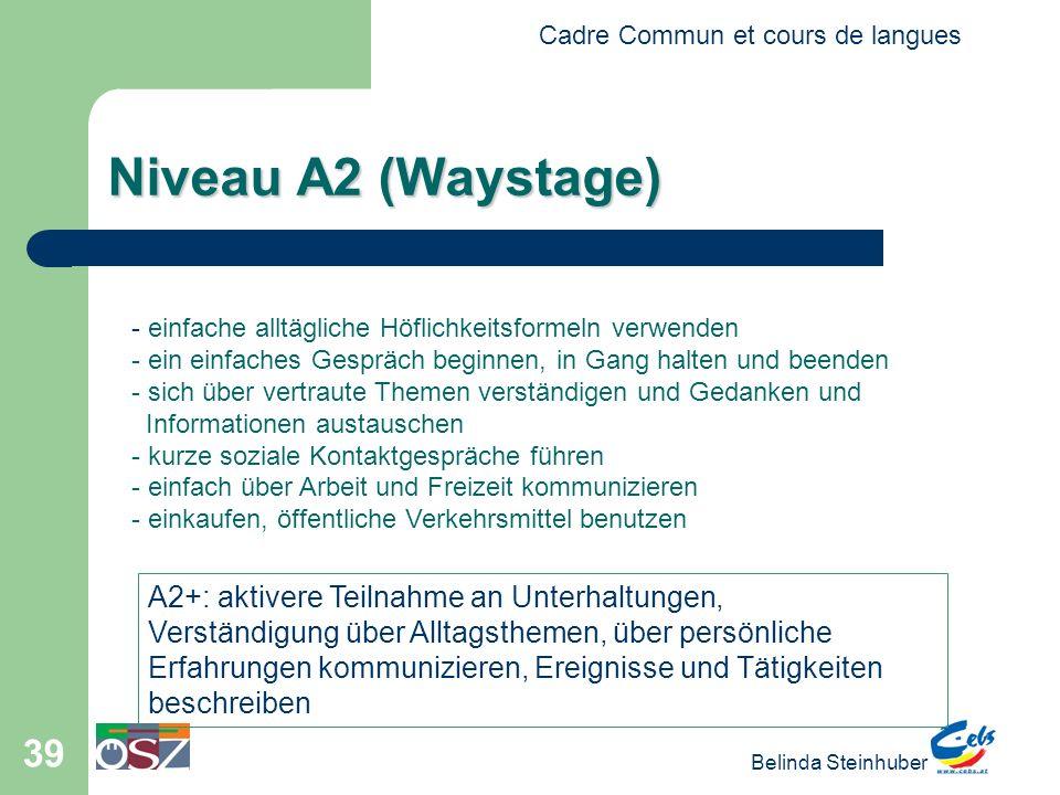 Cadre Commun et cours de langues Belinda Steinhuber 39 Niveau A2 (Waystage) - einfache alltägliche Höflichkeitsformeln verwenden - ein einfaches Gespr