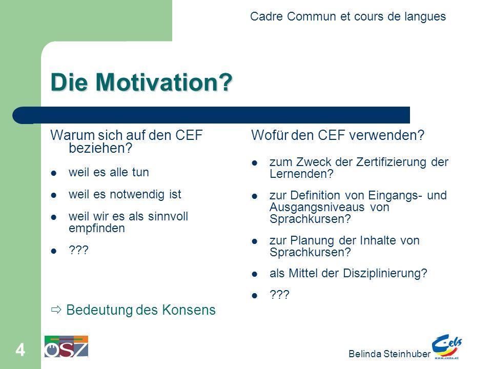 Cadre Commun et cours de langues Belinda Steinhuber 4 Die Motivation? Warum sich auf den CEF beziehen? weil es alle tun weil es notwendig ist weil wir