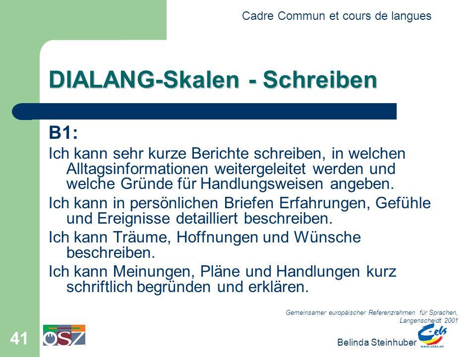 Cadre Commun et cours de langues Belinda Steinhuber 41 DIALANG-Skalen - Schreiben B1: Ich kann sehr kurze Berichte schreiben, in welchen Alltagsinformationen weitergeleitet werden und welche Gründe für Handlungsweisen angeben.