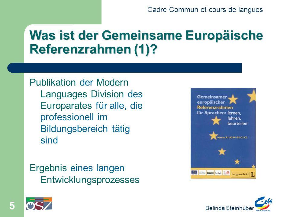Cadre Commun et cours de langues Belinda Steinhuber 16 Verwendung des Referenzrahmens in Institutionen (4) Le processus de standardisation: 1.