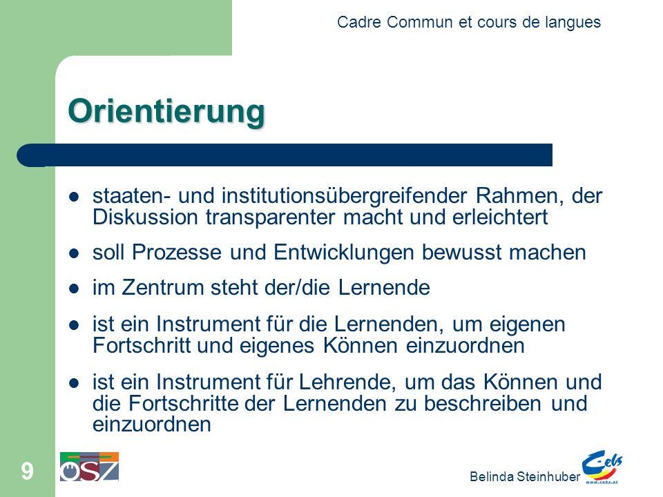 Cadre Commun et cours de langues Belinda Steinhuber 9 Orientierung staaten- und institutionsübergreifender Rahmen, der Diskussion transparenter macht